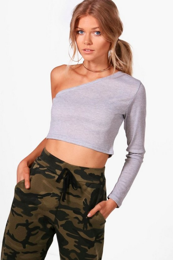 Petite Holly One Sleeve Rib Top