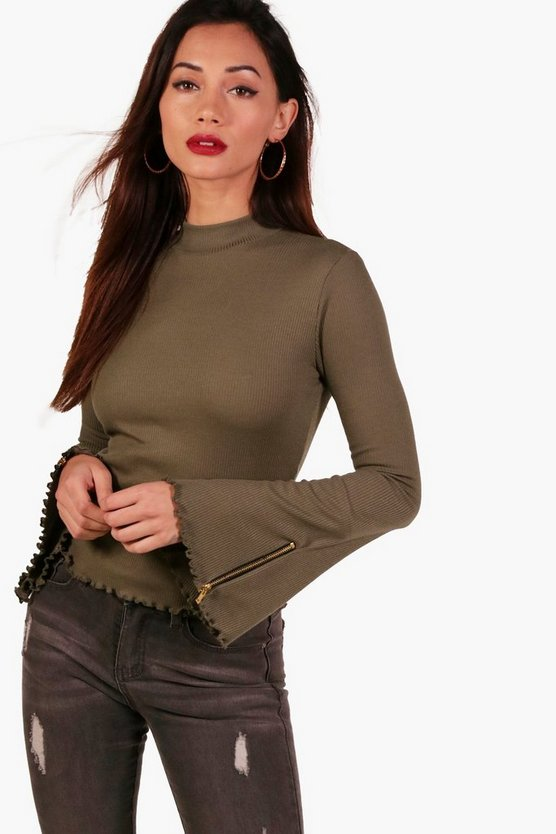 Petite Rita Rib Turtle Neck Zip Detail Top