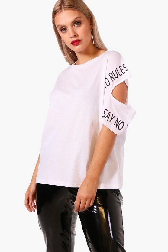 Plus Sally Slogan Cold Shoulder Oversized Tee