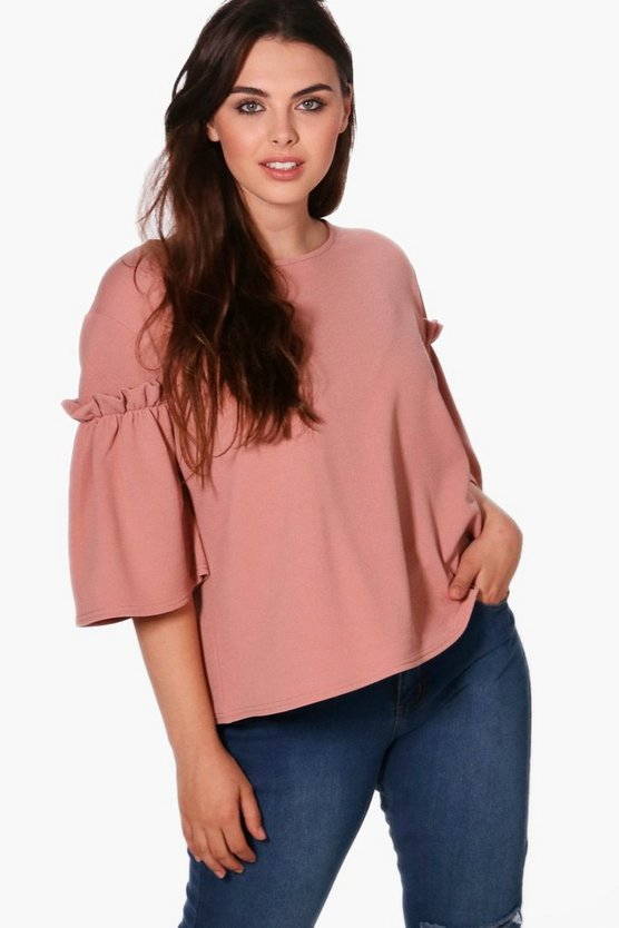 Plus Addison Ruffle Crepe Boxy Top