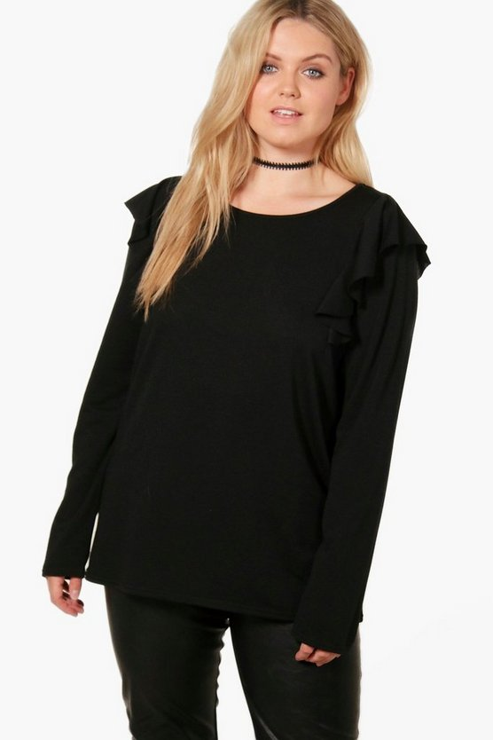 Plus Amelia Ruffle Detail Knitted Top
