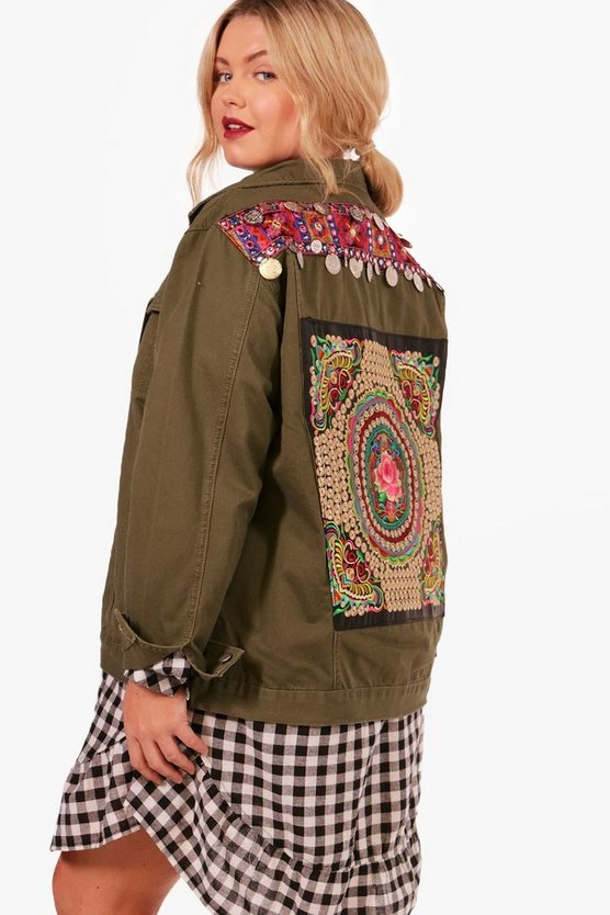 Plus Emily Embroidered Cotton Twill Jacket