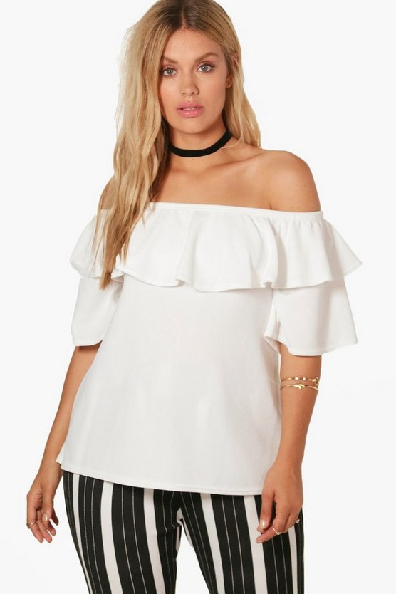 Plus Ciara Off Shoulder Ruffle Crepe Top