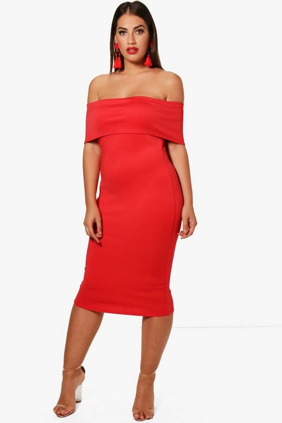 Plus Katie Off The Shoulder Midi Dress