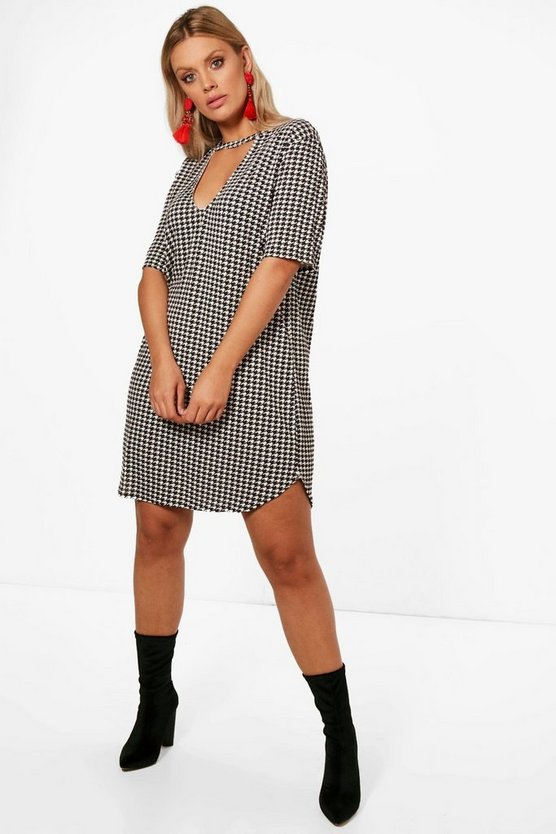 Plus Una Dogtooth Printed Choker Shift Dress