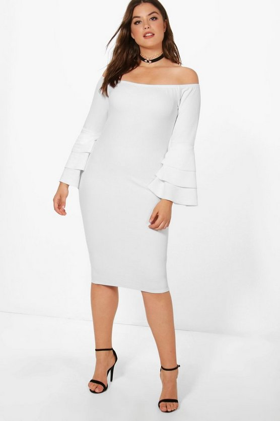 Plus Mia Off The Shoulder Ruffle Cuff Dress