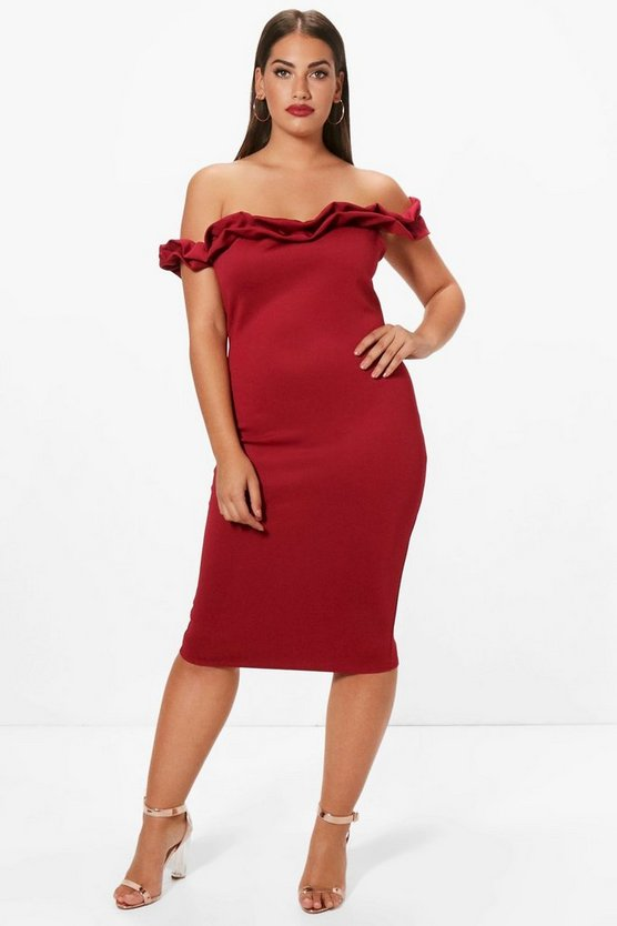 Plus Abbie Frill Off The Shoulder Midi Dress