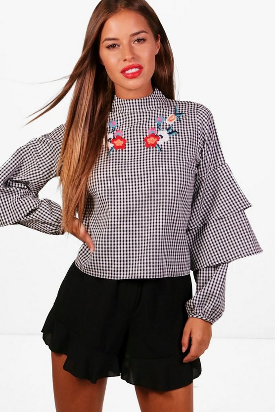 Petite Clara Gingham Tier Sleeve Embroidered Blouse