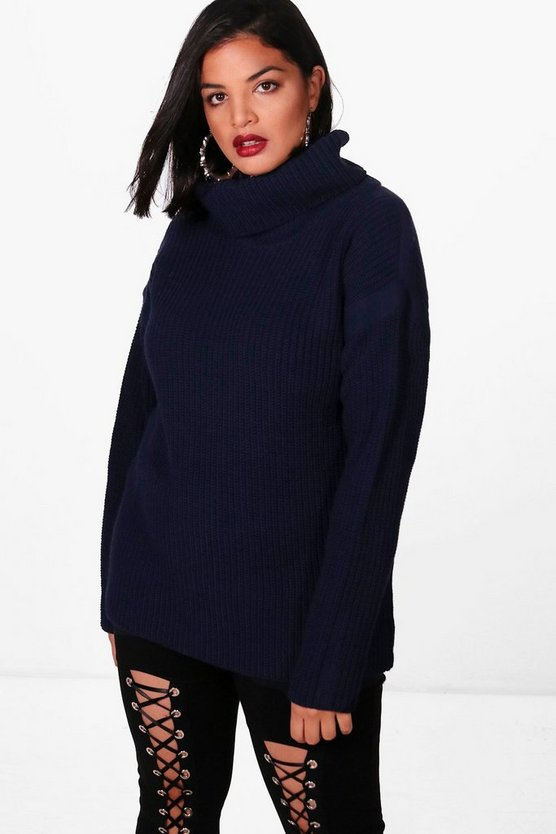 Plus Tape Detail Roll Neck Jumper