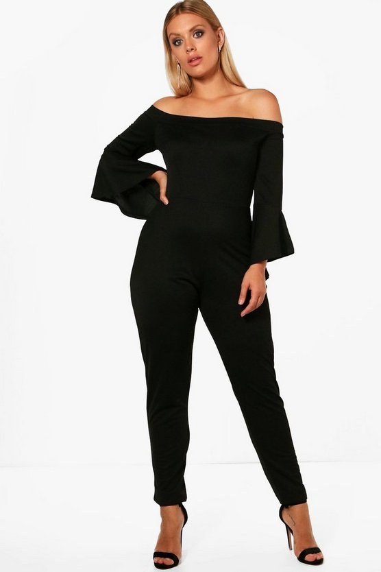 Plus Arabella Crepe Off Shoulder Frill Jumpsuit