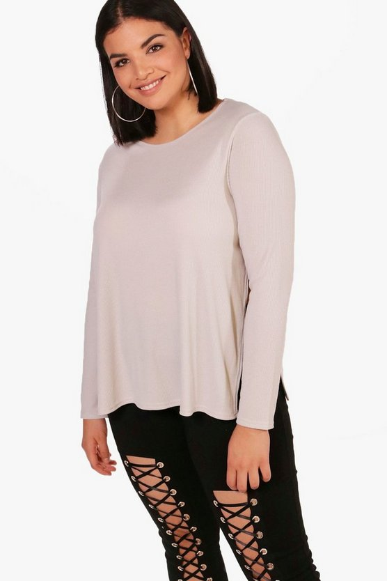 Plus Emma Side Split Ribbed Jumper