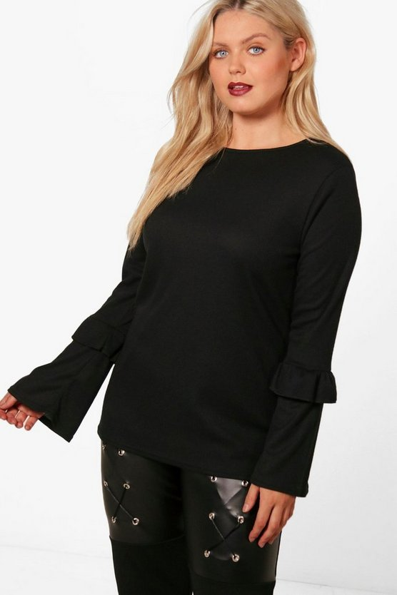 Plus Milly Frill Bell Sleeve Jumper