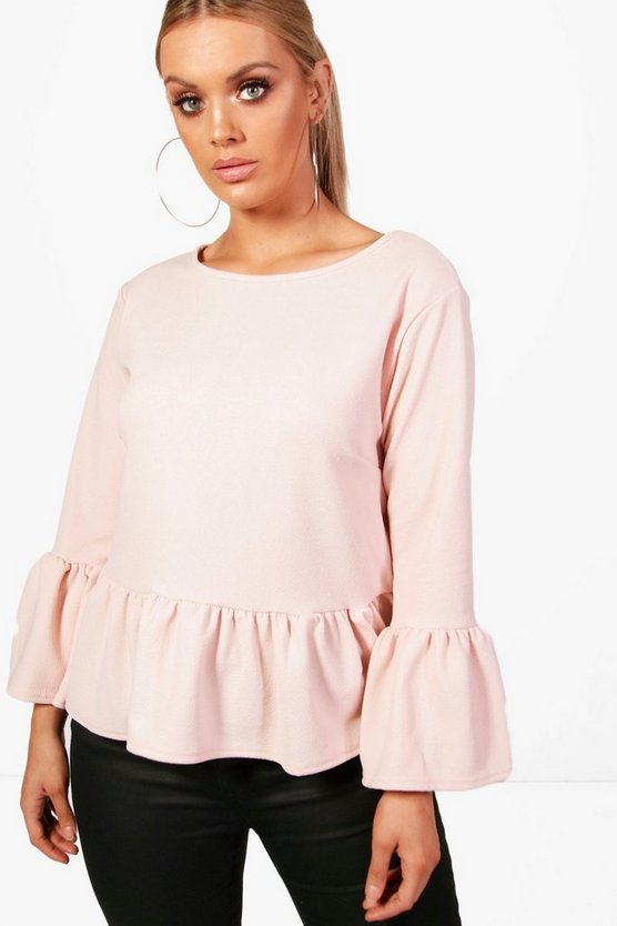 Plus Crepe Ruffle Hem Top