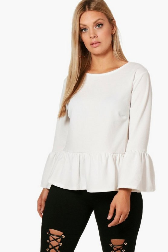 Plus Kerry Crepe Ruffle Hem Top