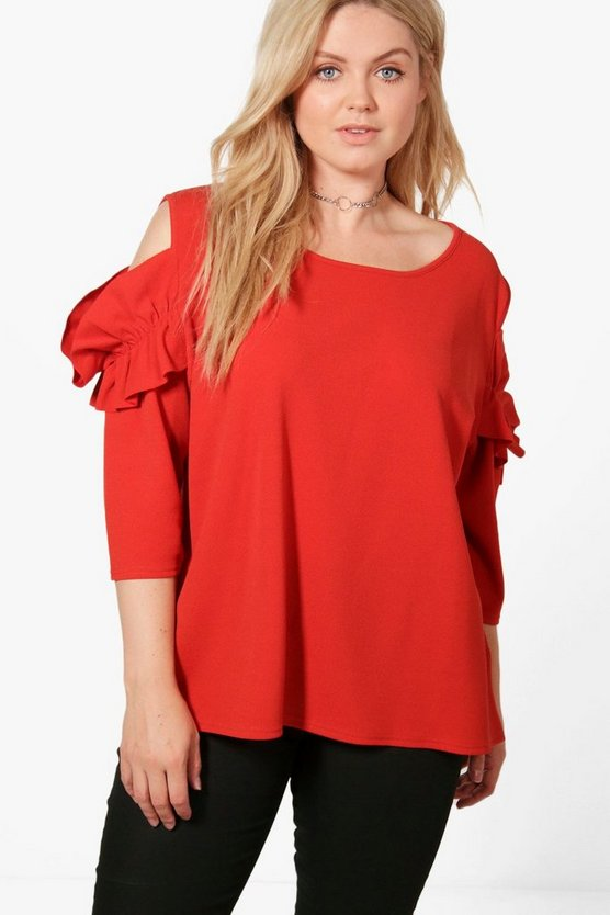 Plus Lauren Frill Sleeve Cold Shoulder Top
