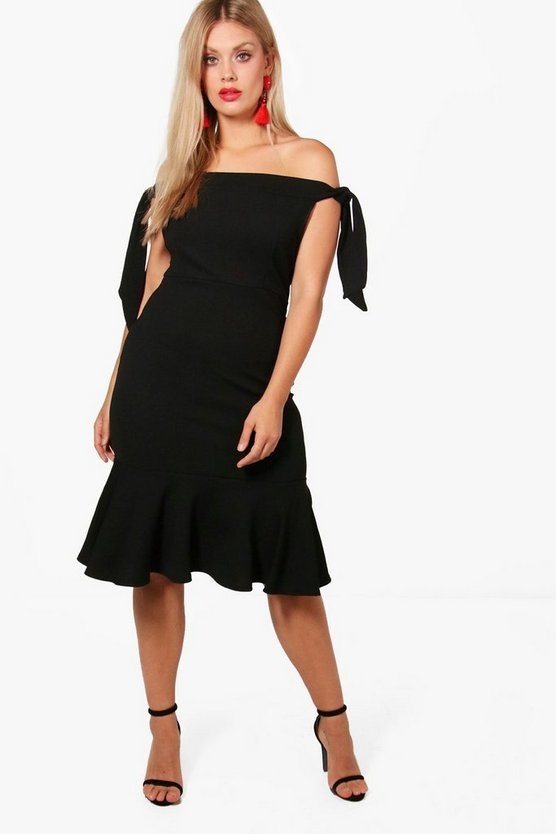 Plus Tie Sleeve Off Shoulder Peplum Midi Dress