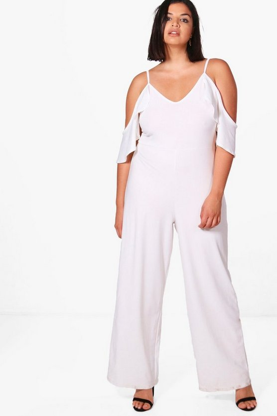 Plus Crepe Ruffle Cold Shoulder Jumpsuit