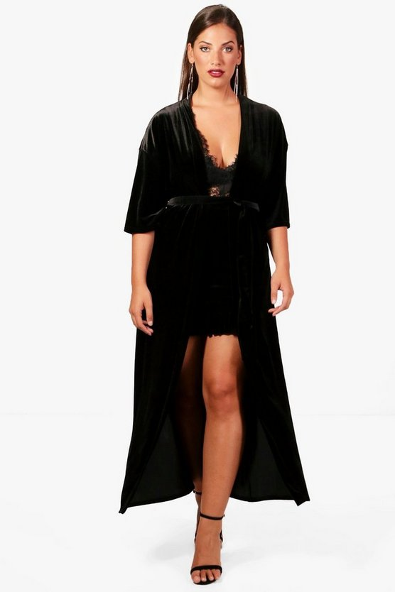Plus Lauren Heavy Velvet Duster