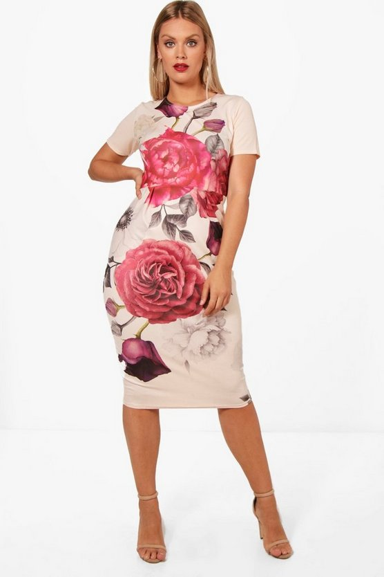 Plus Molly Floral Crepe Wiggle Dress