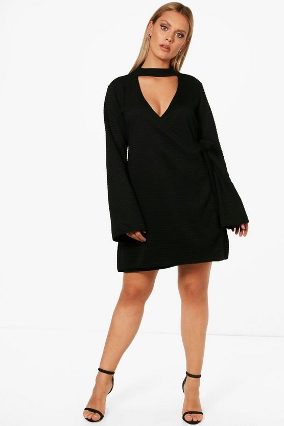 Plus Charly Choker Rib Wrap Dress