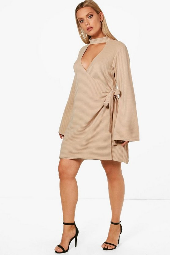 Plus Choker Rib Wrap Dress