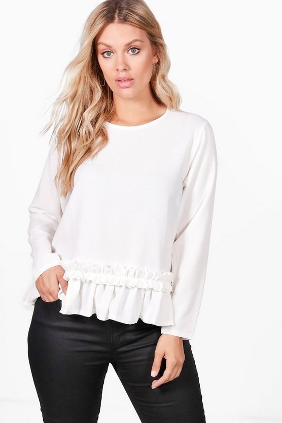 Plus Kerry Crepe Ruffle Long Sleeve Crop