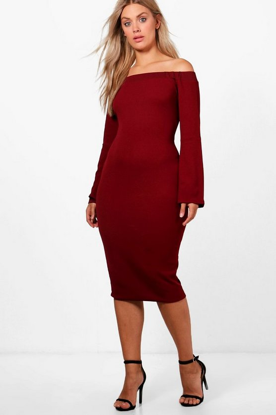 Plus India Off The Shoulder Textured Midi Dress