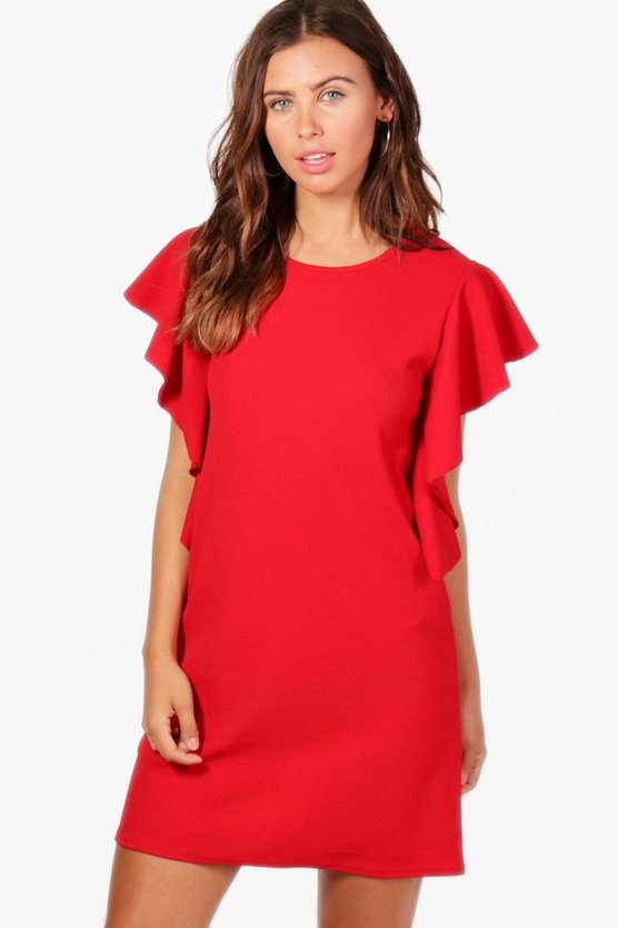 Petite Tash Crepe Frill Side Shift Dress