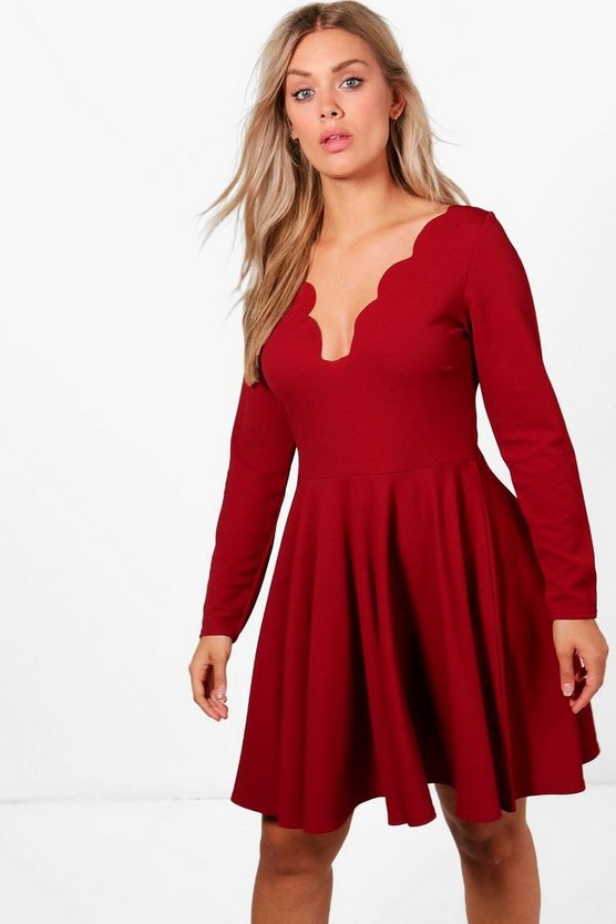 Plus Long Sleeved Scallop Skater Dress