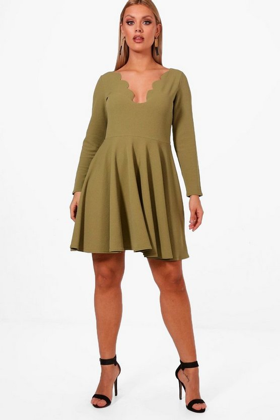 Plus Nadine Long Sleeved Scallop Skater Dress