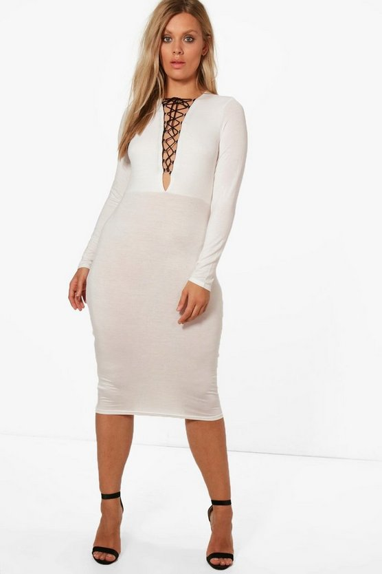 Plus Steph Lace Up Detail Midi Dress