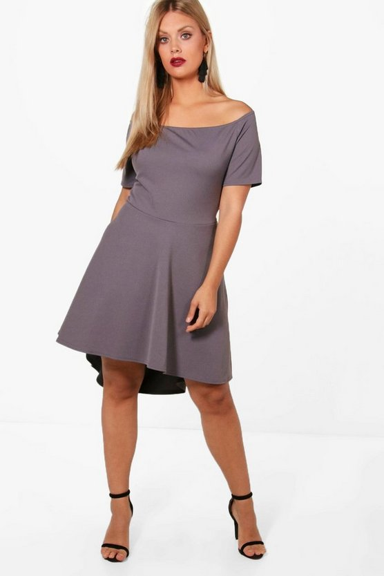 Plus Vicky Off Shoulder Dipped Hem Skater Dress