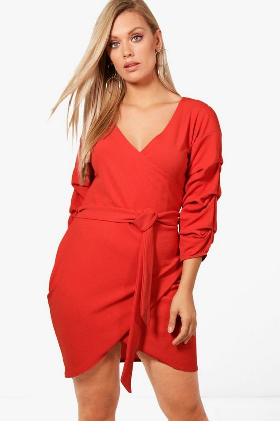 Plus Tie Detail Wrap Dress