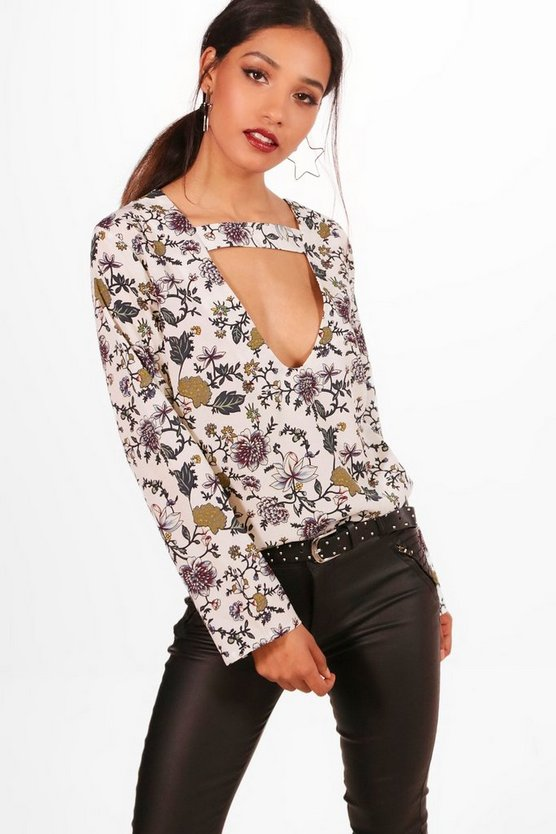Petite Gracie Cut Out Detail Floral Blouse