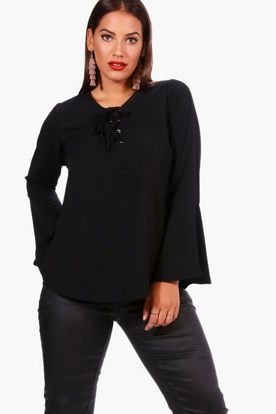 Plus Fliss Lace Up Front Flare Sleeve Tunic Top
