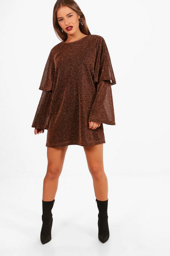 Petite Molly Glitter Tired Sleeve Shift Dress
