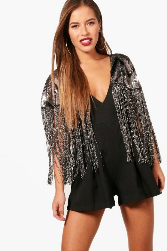 Petite Megan Crepe Sequin Tassel Playsuit by Boohoo