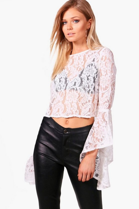 Petite Corded Bell Sleeve Lace Crop Top
