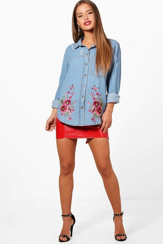 Petite Emma Embroidered Denim Shirt