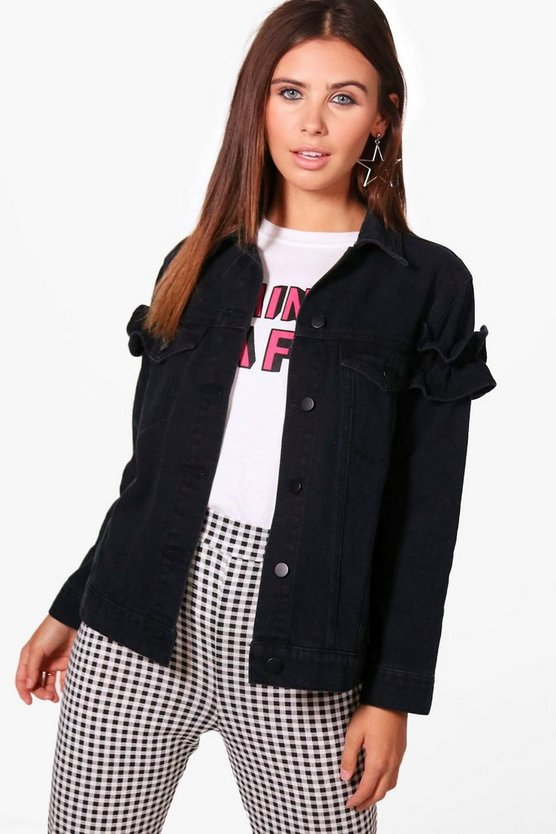 Petite Ruffle Sleeve Denim Jacket