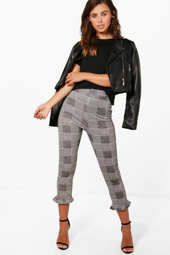 Petite Holly Dogtooth Frill Hem Trouser
