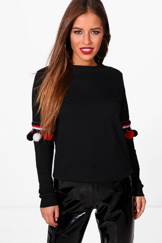Petite Linda Oversized Pom Pom Detail Sweat