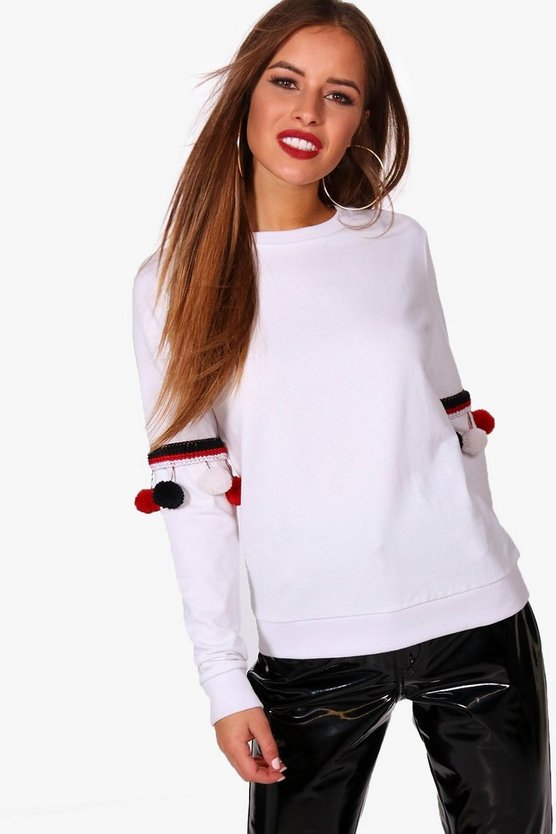 Petite Oversized Pom Pom Detail Sweat
