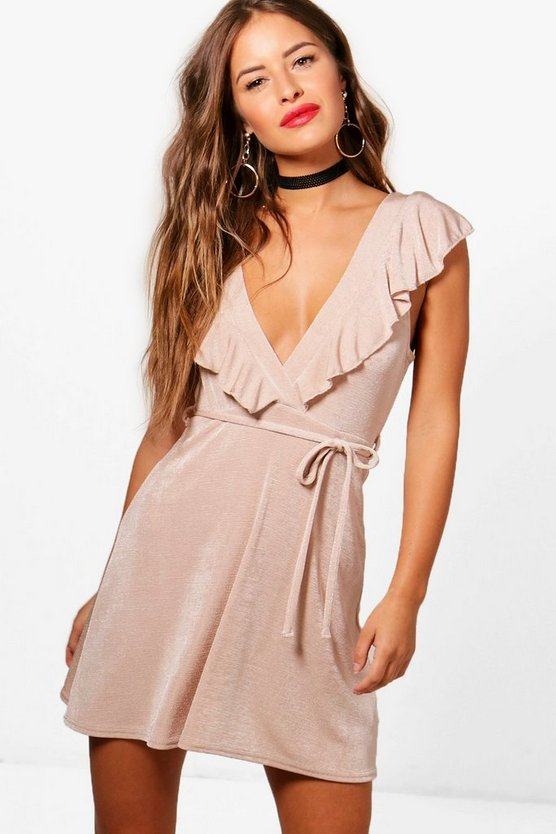 Petite Poppy Shimmer Slinky Frill Skater Dress