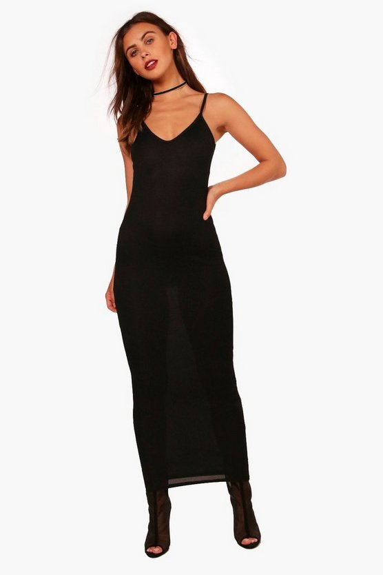 Petite Maria Basic Rib Jersey Maxi Dress