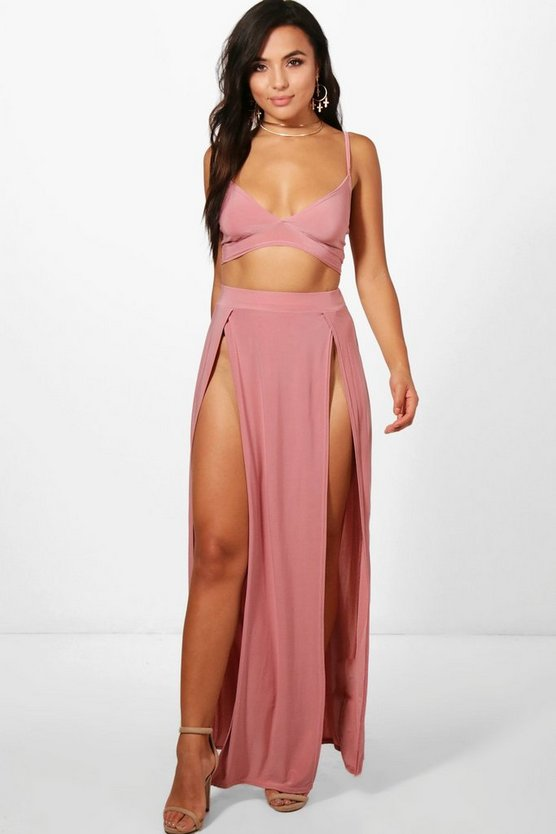 Petite Slinky Bralet And Maxi Skirt
