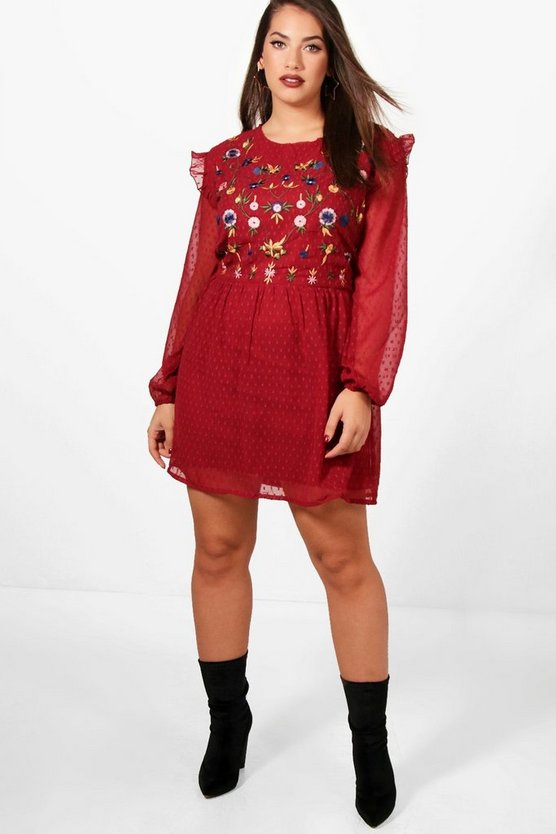 Plus Sarah Embroidered Front Skater Dress