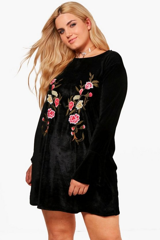 Plus Darcy Embroidered Velvet Shift Dress