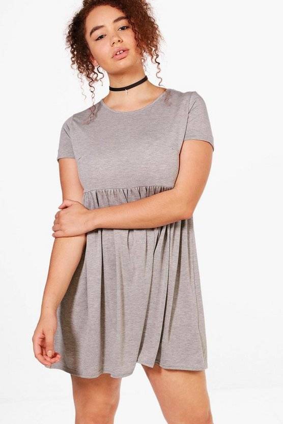 Plus Belinda Turn Up Sleeve Skater Dress