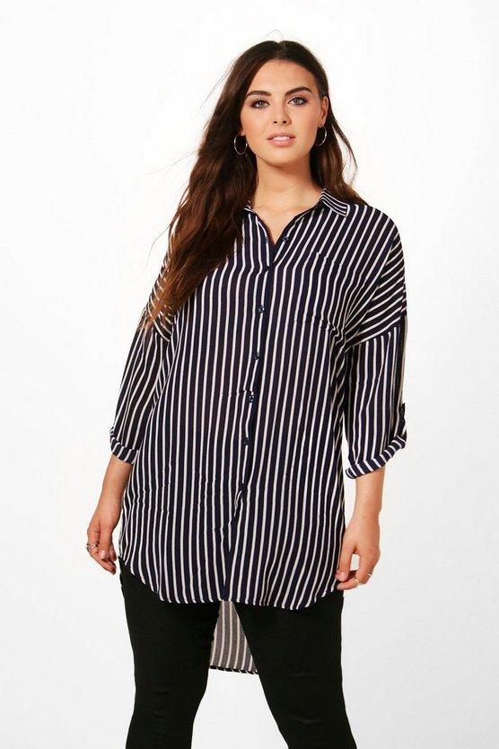 Plus Ivy Stripe Oversized Woven Shirt